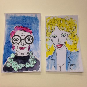 Iris Apfel and Dolly Parton drawing