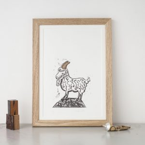goat lino print