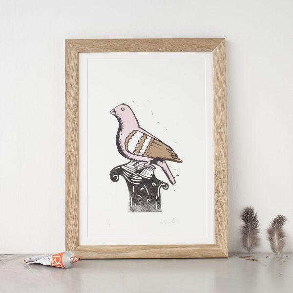 pigeon lino print