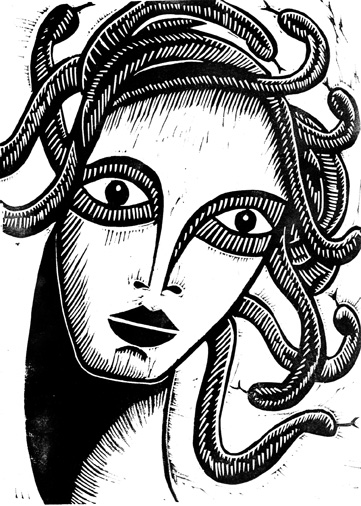 lino print of medusa