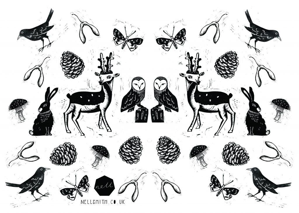 woodland lino print