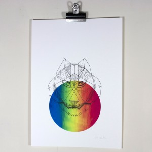 geometric wolf screen print