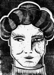 Emmeline Pankhurst linocut for Women in Print