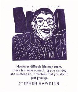 Stephen Hawking linocut with letterpress