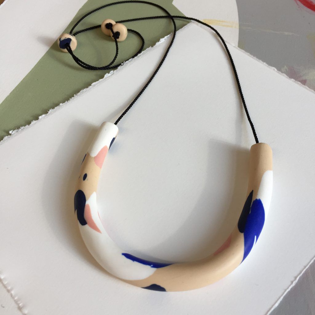 cream pink navy necklace