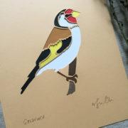 goldfinch papercut close up