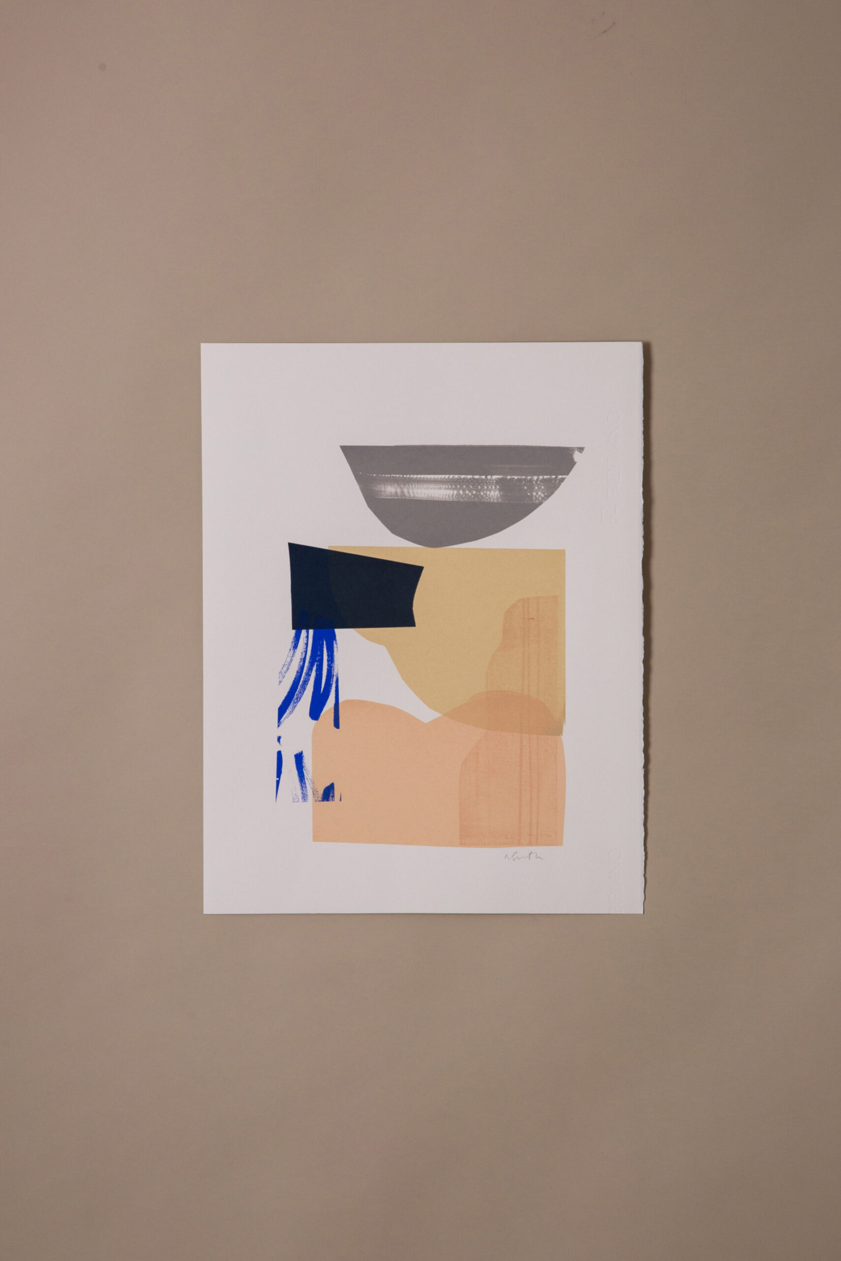 grey, blue and cream abstract print