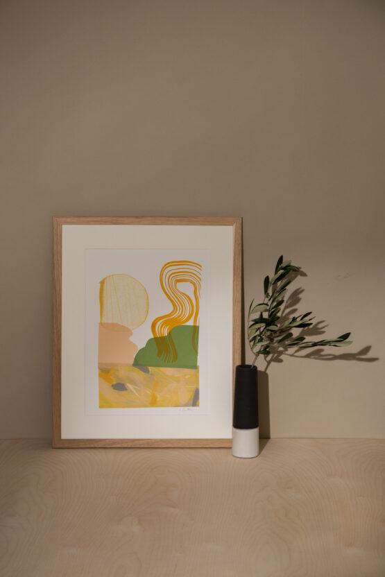 Peach and green monoprint