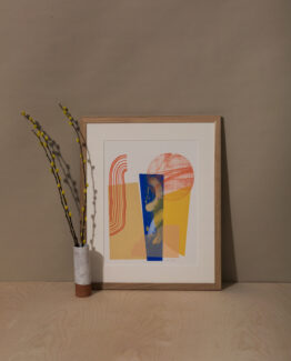 yellow and blue abstract screen print