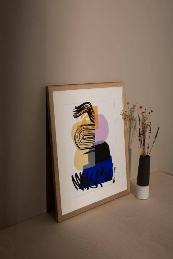 Black and blue contemporary screenprint